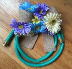 Completed Spring Garden Hose Wreath Project