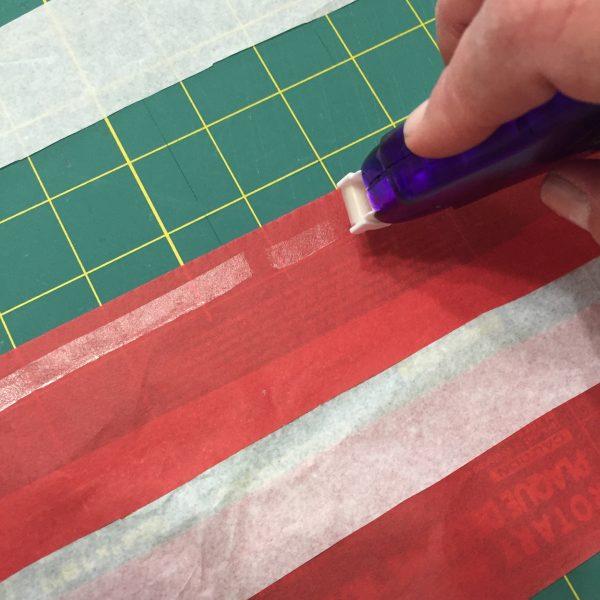 Tape Runner on tissue paper
