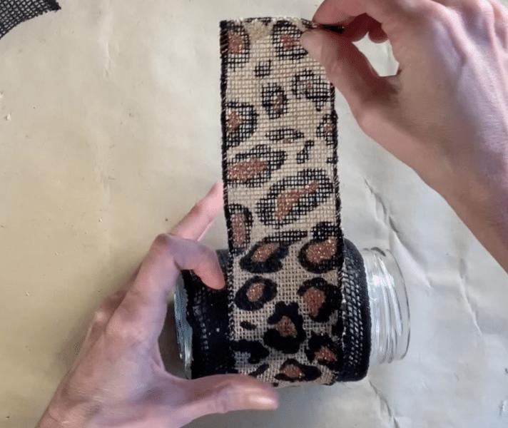 Glue secondary ribbon on the jar