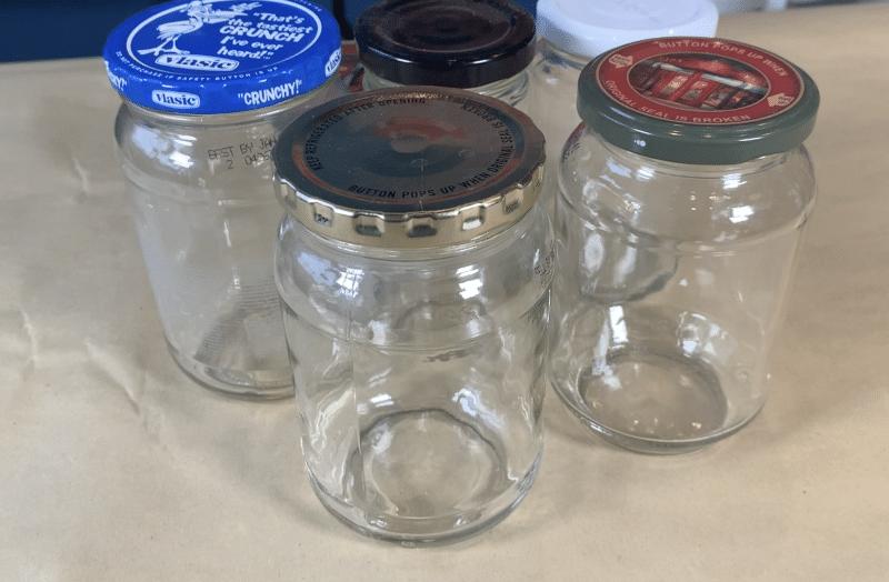 Emptied glass jars