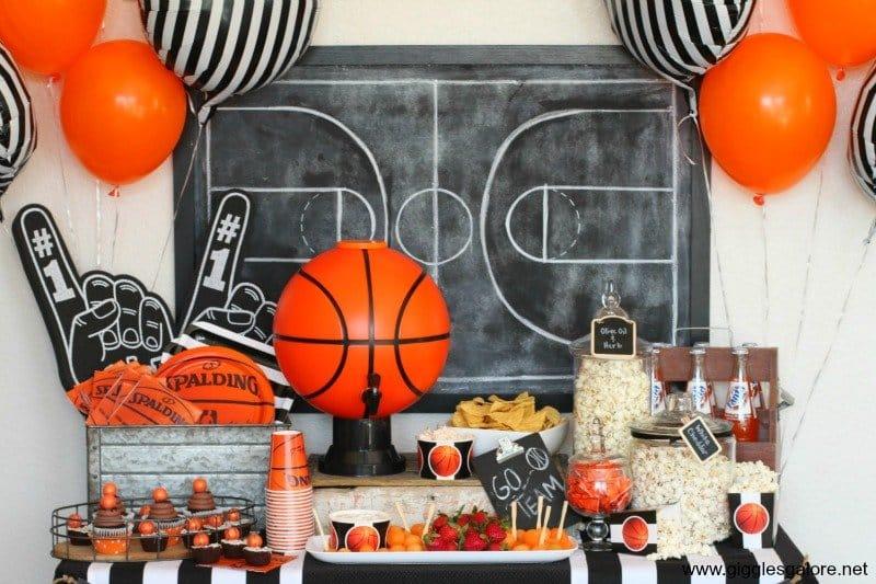 Basketball party table decor