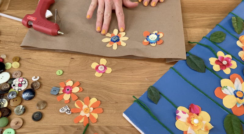 Adding buttons to complete the flowers