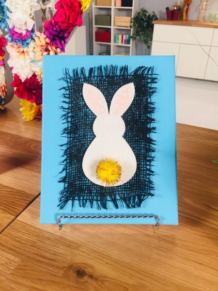 Finished bunny canvas art with blue and black