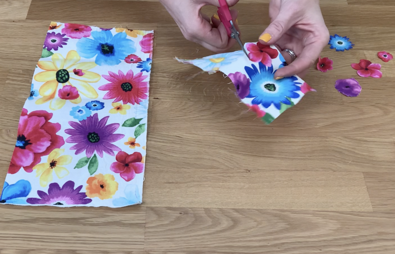Cutting flower patterned fabric