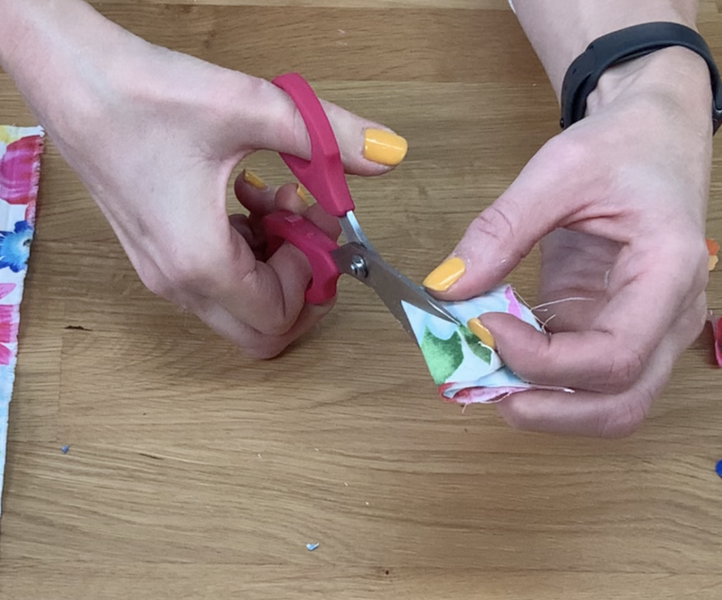 Cutting petals from fabric
