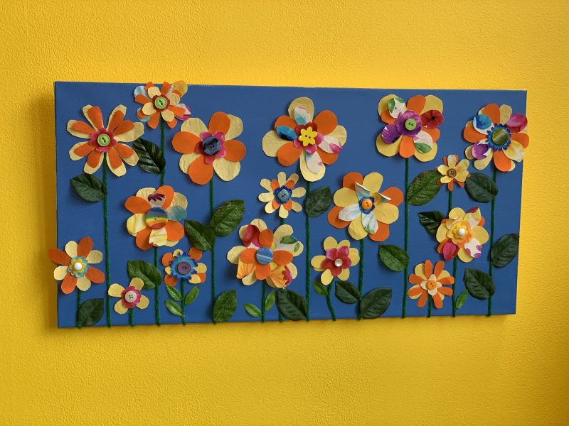 Finished Blooming Canvas Art project on the wall