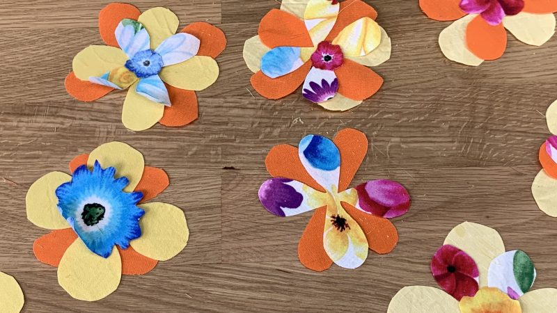 Close up fabric flowers