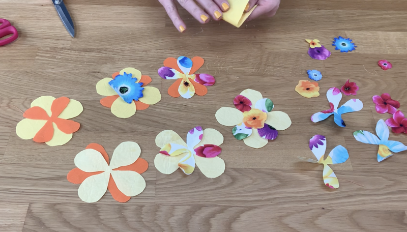 Variety of cut out petals from fabric