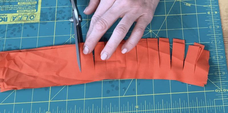 Making fringes for leprechaun beard from fabric strips