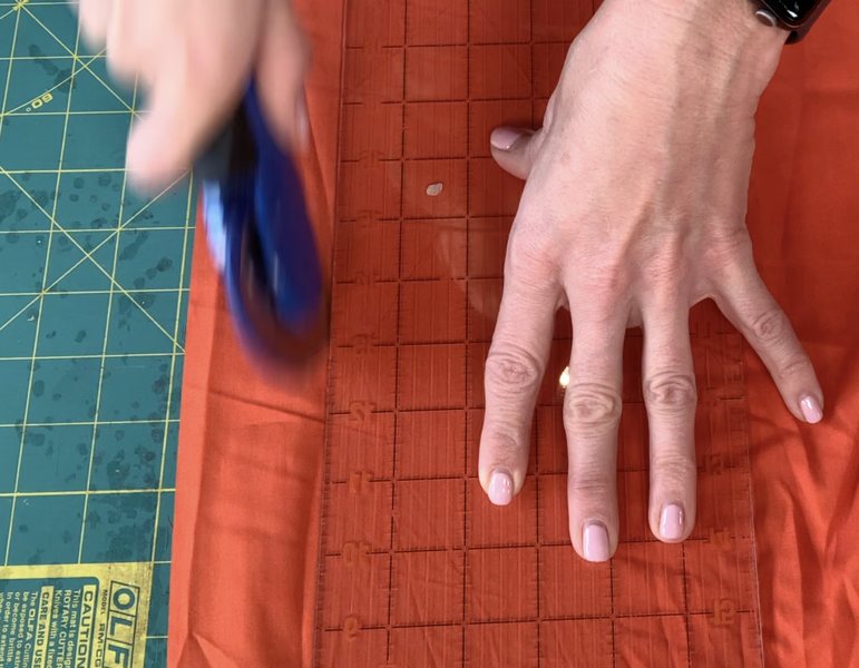 Rotary Cutting Orange Fabric