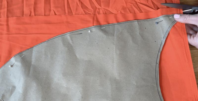 Cutting Leprechaun Beard from orange fabric