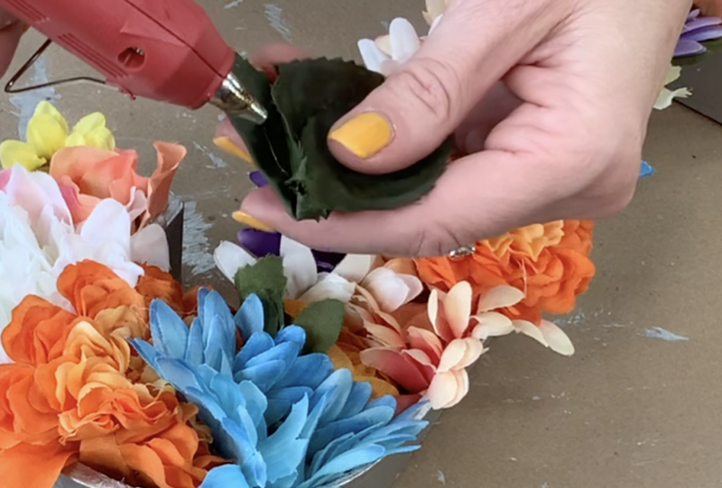 Adding leaves to the flowers