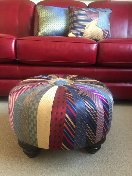 Neck ties turned into a footstool and pillows