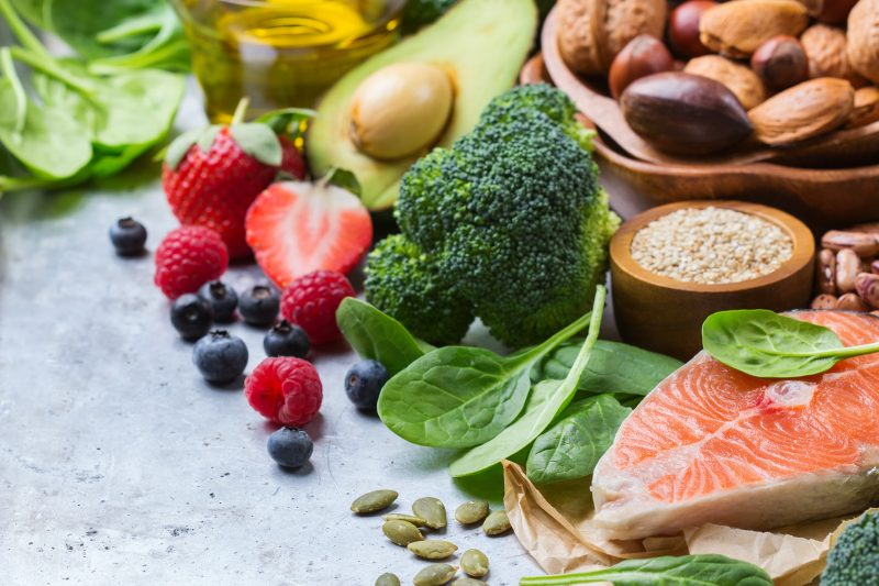 Healthy foods fruits veggies and fish