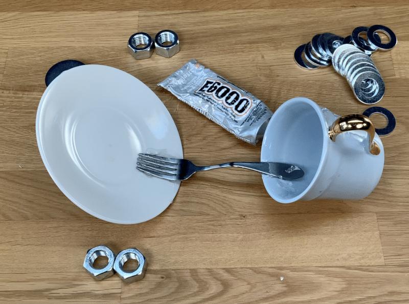 Off balanced tea cup and saucer base