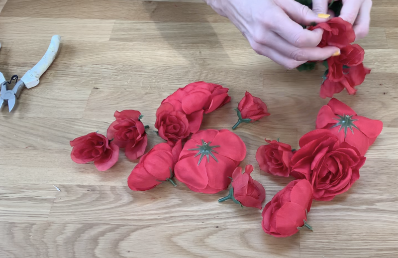 Removing faux roses from stems