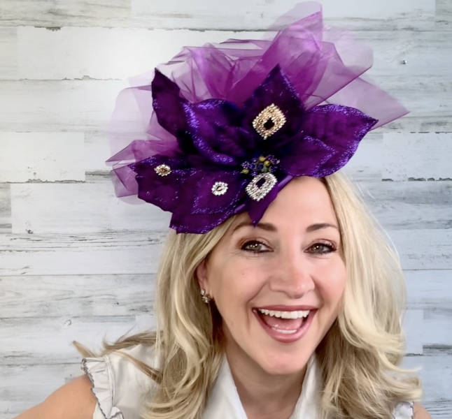 Completed purple jeweled DIY Fascinator hat for Derby Day