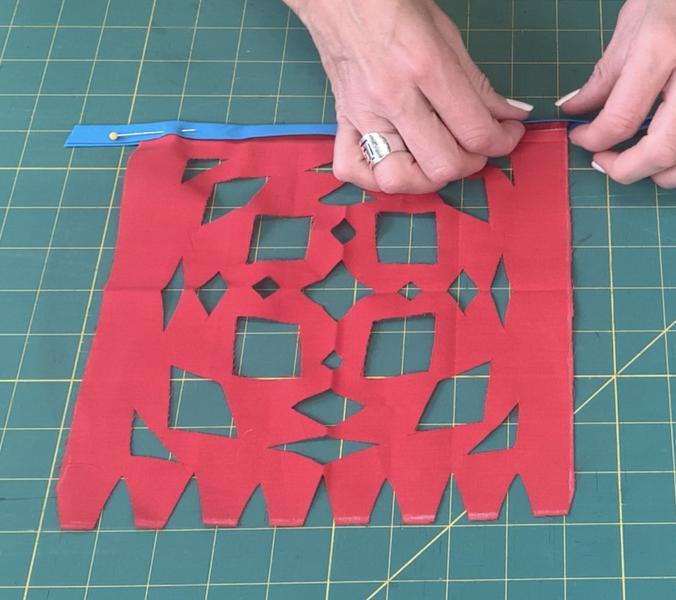 Adding fabric piece to the bias tape