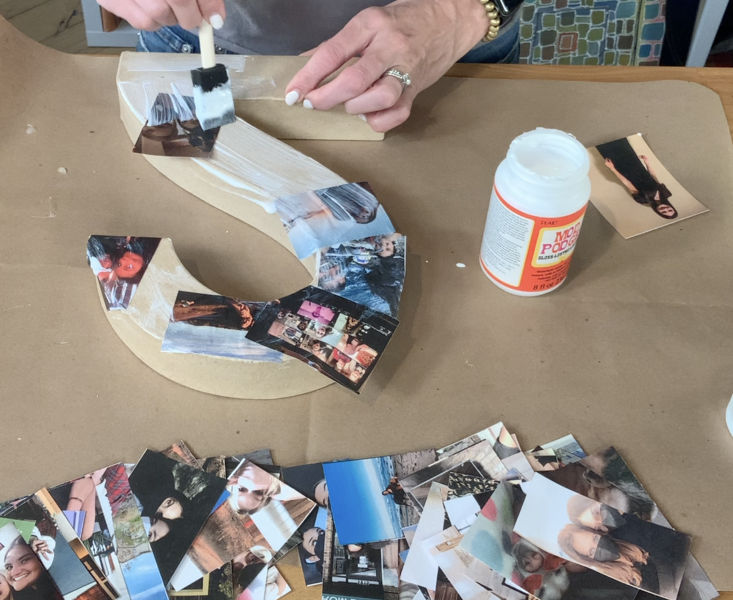Layering photos on the paper mache numbers